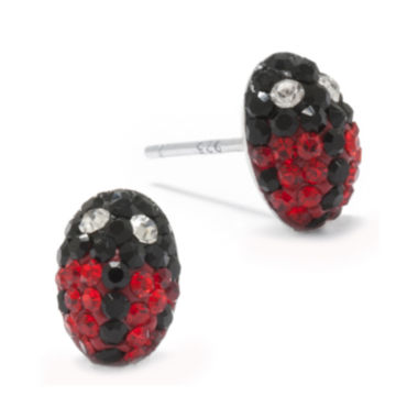 jcpenney.com | Red and Black Crystal Sterling Silver Ladybug Stud Earrings
