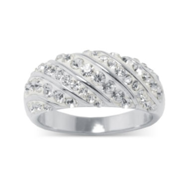 jcpenney.com | Crystal Sterling Silver Over Brass Dome Ring