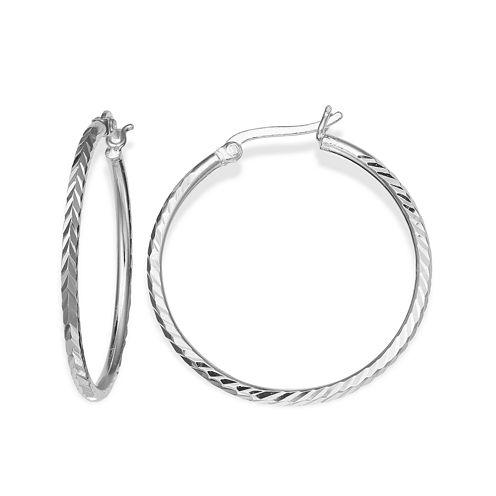 Silver-Plated Textured Hoop Earrings