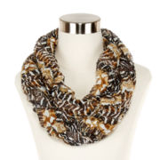 Jungle-Print Ruched Loop Scarf