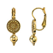 1928® Jewelry Antiqued Gold-Tone Leverback Earrings