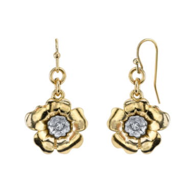 jcpenney.com | 1928® Jewelry Crystal Two-Tone Flower Drop Earrings