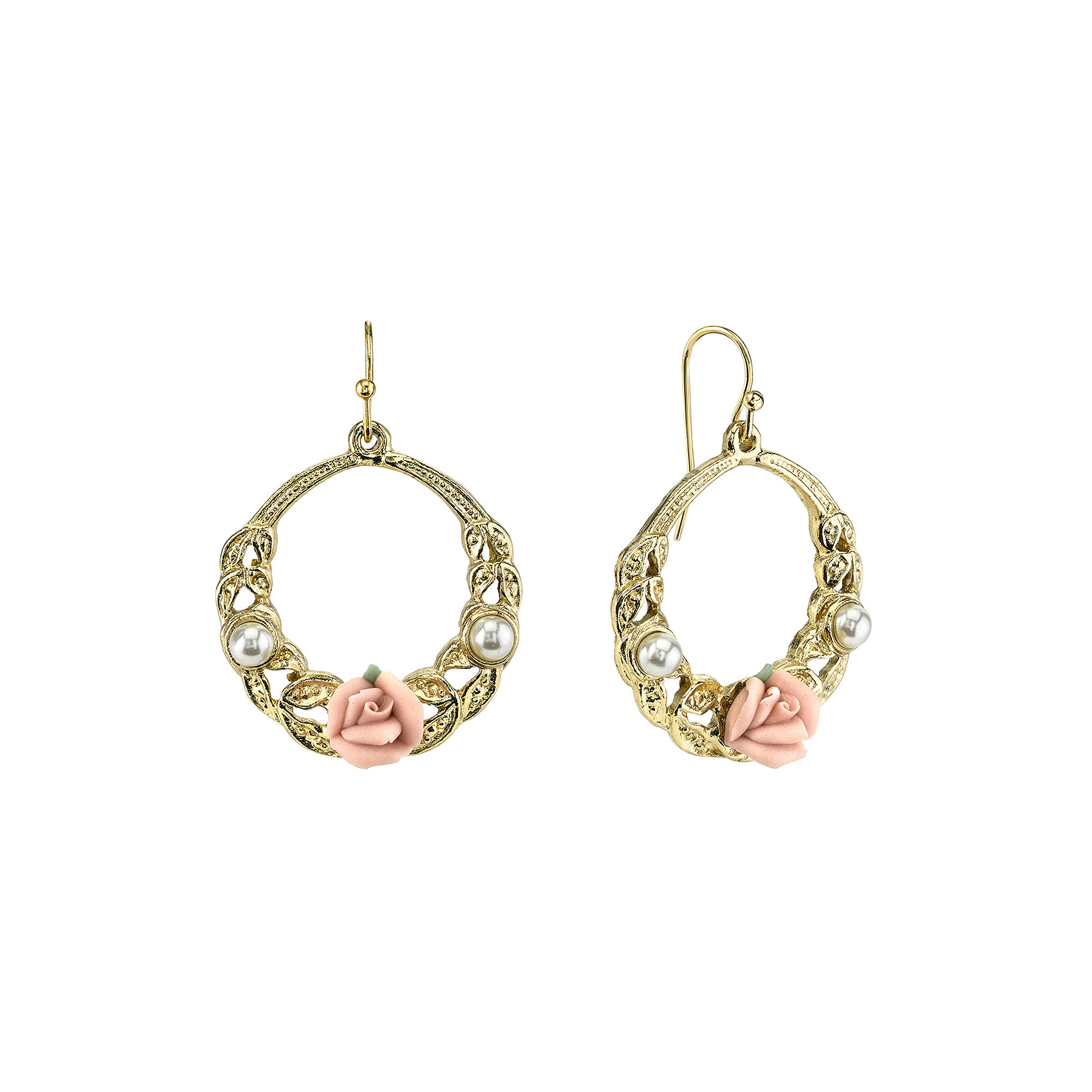1928 Jewelry Pink Rose and Simulated Pearl Gold-Tone Hoop Earrings
