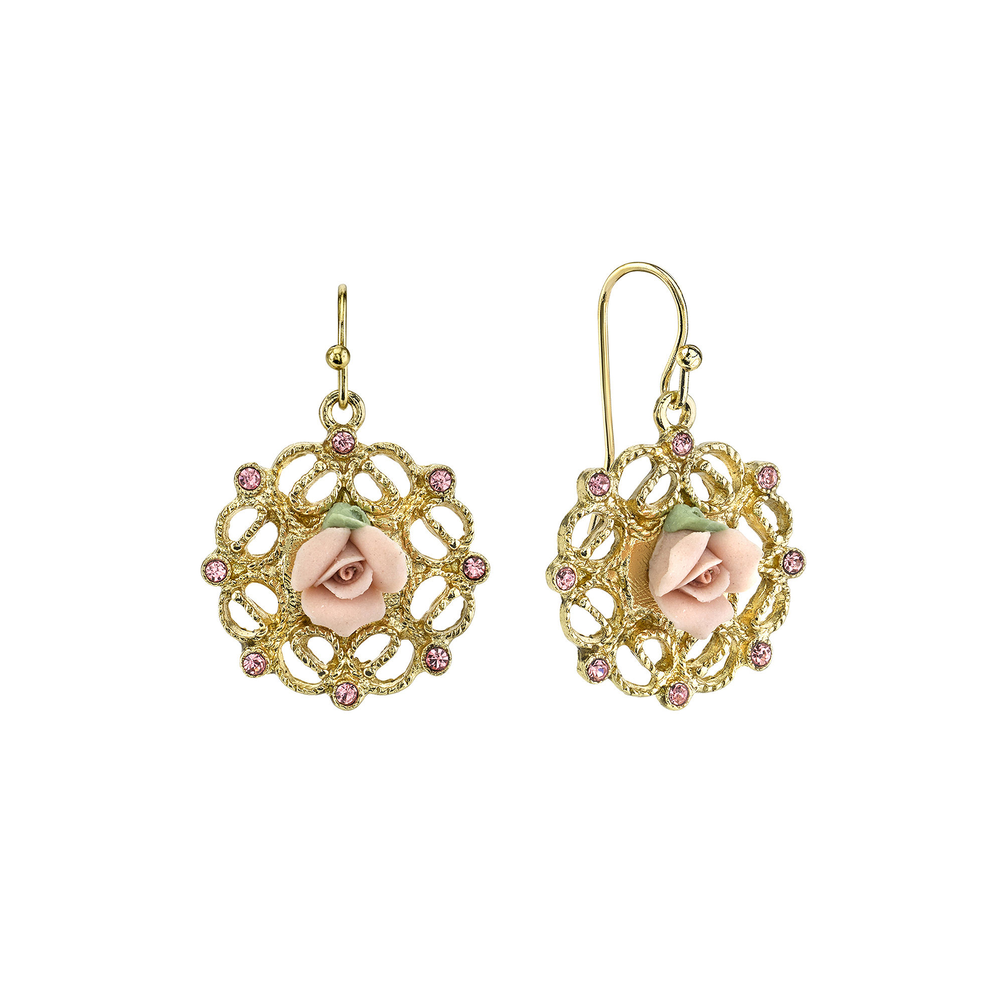 1928 Jewelry Pink Rose and Crystals Gold-Tone Drop Earrings