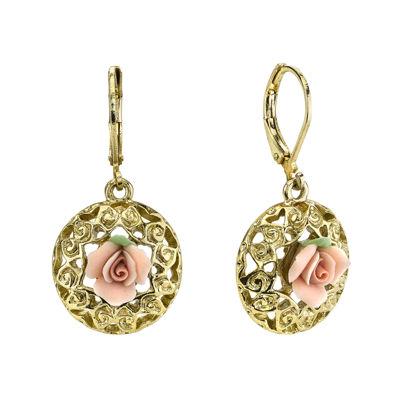 1928 Jewelry Pink Rose GoldTone Drop Earrings JCPenney