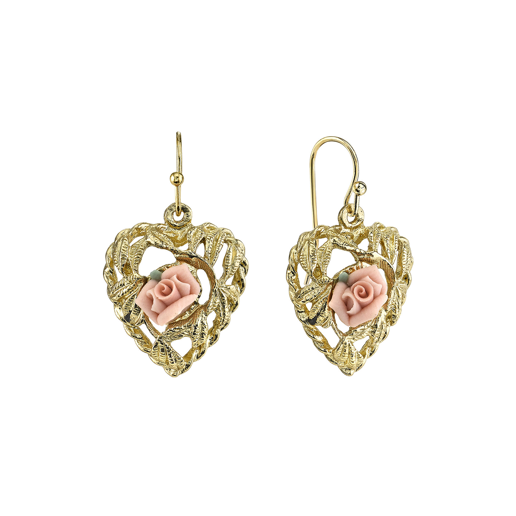 1928 Jewelry Pink Rose Gold-Tone Heart Earrings