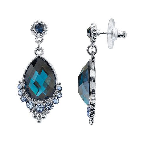 1928® Jewelry Blue Crystal Teardrop Earrings