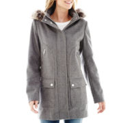 a.n.a® Faux-Fur Trim Hood Wool-Blend Coat - Petite