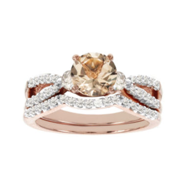 jcpenney.com | Blooming Bridal Genuine Morganite and Diamond 14K Rose Gold Bridal Ring Set