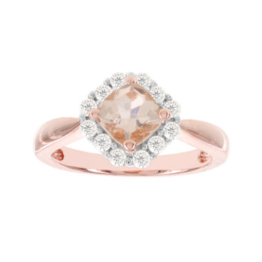 jcpenney.com | Blooming Bridal Genuine Cushion-Cut Morganite and Diamond 14K Rose Gold Ring