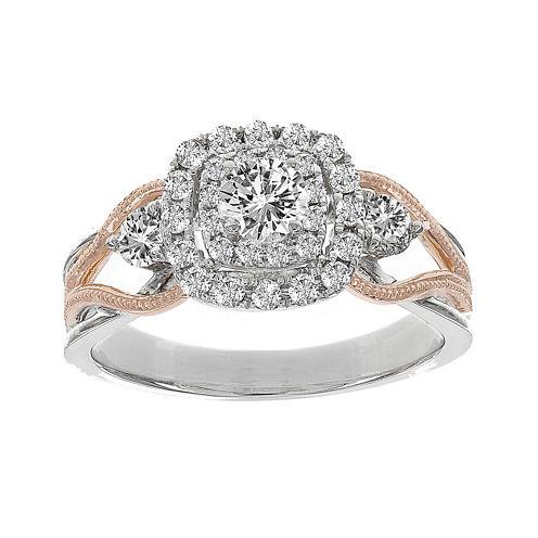 Lumastar 7/8 CT. T.W. Diamond 14K Two-Tone Gold Bridal Ring