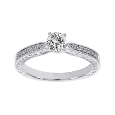 jcpenney.com | Lumastar 5/8 CT. T.W. Diamond 18K White Gold Vintage-Style Bridal Ring