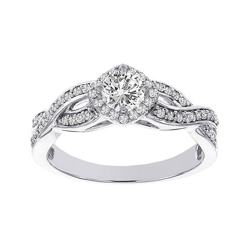 Lumastar 1/2 CT. T.W. Diamond 14K White Gold Infinity Bridal Ring