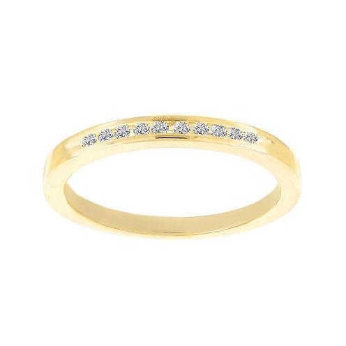 Lumastar 1/10 CT. T.W. Diamond Yellow Gold Over Sterling Silver Wedding Band