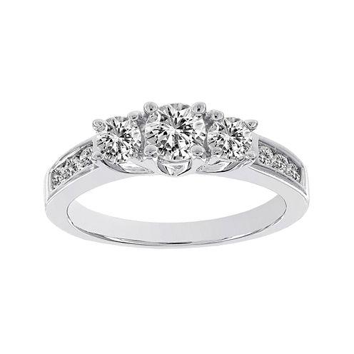 Lumastar 1 CT. T.W. Diamond 14K White Gold 3-Stone Bridal Ring