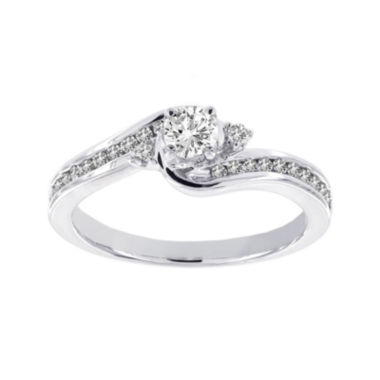 jcpenney.com | Lumastar 1/2 CT. T.W. Diamond 14K White Gold 3-Stone Bypass Bridal Ring