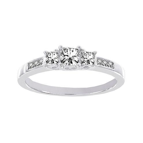 Lumastar 1/2 CT. T.W. Diamond 10K White Gold Princess-Cut 3-Stone Bridal Ring