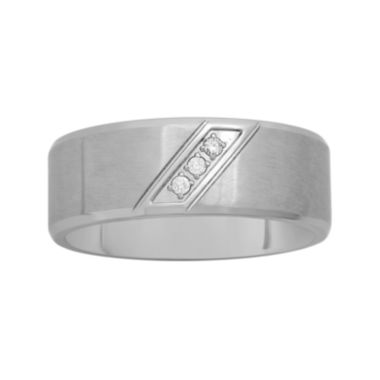 jcpenney.com |  Mens Diamond-Accent Stainless Steel 8mm Comfort Fit Wedding Band