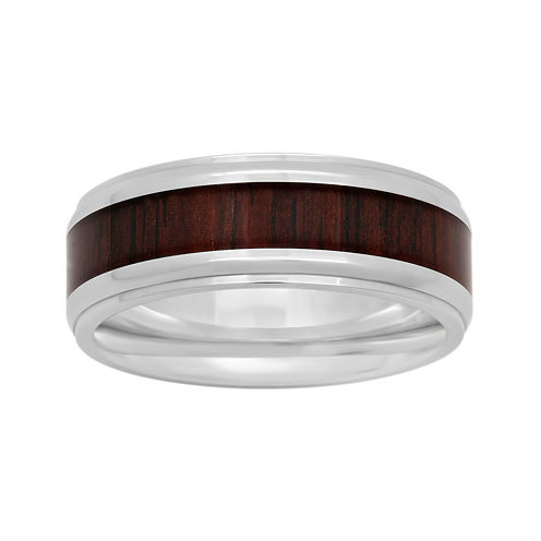 Mens Stainless Steel Inlay 8mm Comfort Fit Wedding Band