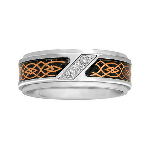 Mens 1/10 CT. T.W. Diamond Tribal Inlay 8mm Wedding Band
