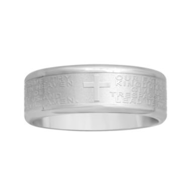 jcpenney.com |  Mens Lord's Prayer 7mm Stainless Steel Wedding Band