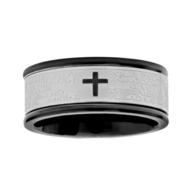 jcpenney.com |  Mens Lord's Prayer Two-Tone Stainless Steel 9mm Spinner Ring