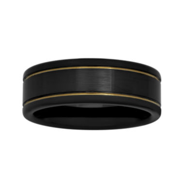 jcpenney.com |  Mens Two-Tone Stainless Steel 8mm Striped Wedding Band