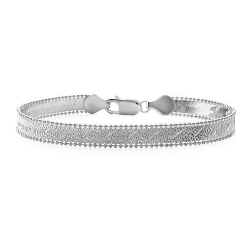 Made in Italy Sterling Silver Herringbone Chain Bracelet