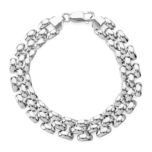 Made in Italy Sterling Silver 3-Row Panther Chain Bracelet