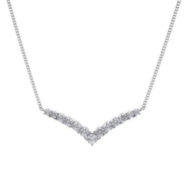 jcpenney.com | DiamonArt® Cubic Zirconia Sterling Silver Chevron Necklace