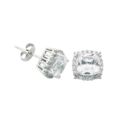 jcpenney.com | DiamonArt® Cushion-Cut Cubic Zirconia Sterling Silver Stud Earrings
