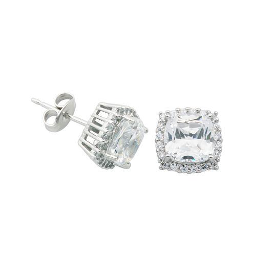 DiamonArt® Cushion-Cut Cubic Zirconia Sterling Silver Stud Earrings