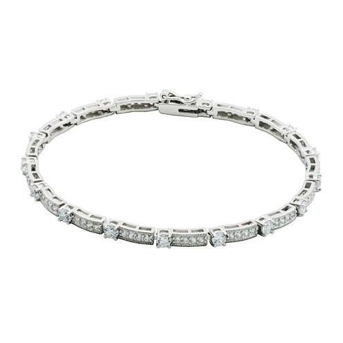 DiamonArt® Cubic Zirconia Sterling Silver Vintage-Style Bracelet