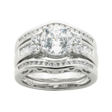 jcpenney.com | 100 Facets by DiamonArt® Cubic Zirconia Sterling Silver 3-Ring Bridal Ring Set