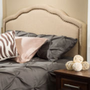 Dakota Full/Queen Upholstered Camelback Headboard with Nailhead Trim