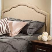 Dakota Full/Queen Upholstered Camelback Headboard with Nailhead Trim