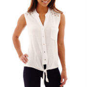 Unity® Sleeveless Lace-Trim Tie-Front Slub Knit Top - Petite