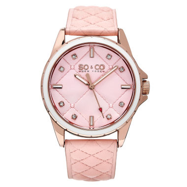 jcpenney.com | SO & CO Ny Women's Quilted Design Soho Peach Quilted Genuine Leather Strap And Peach Quilted Dial Casual Quartz Watch J159P06