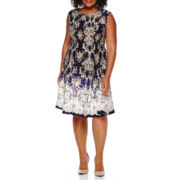 Danny & Nicole® Sleeveless Printed Scuba Fit-and-Flare Dress - Plus