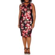 London Style Collection Sleeveless Floral Pleat-Neck Sheath Dress - Plus