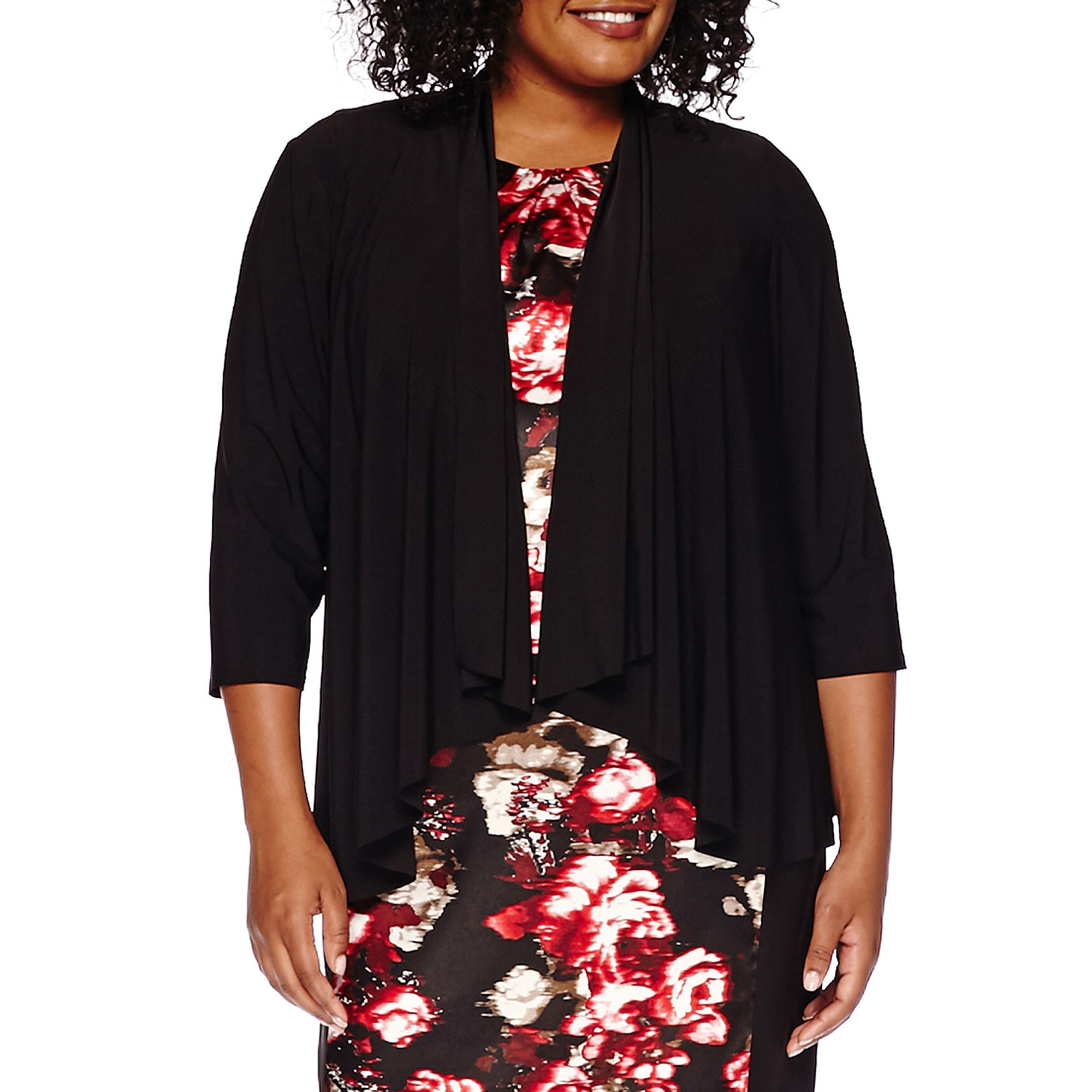 R & M Richards Long-Sleeve Swing Shrug - Plus