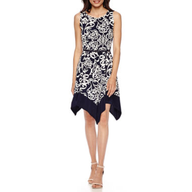 jcpenney.com | Tiana B. Sleeveless Belted Hanky-Hem Fit-and-Flare Dress - Petite