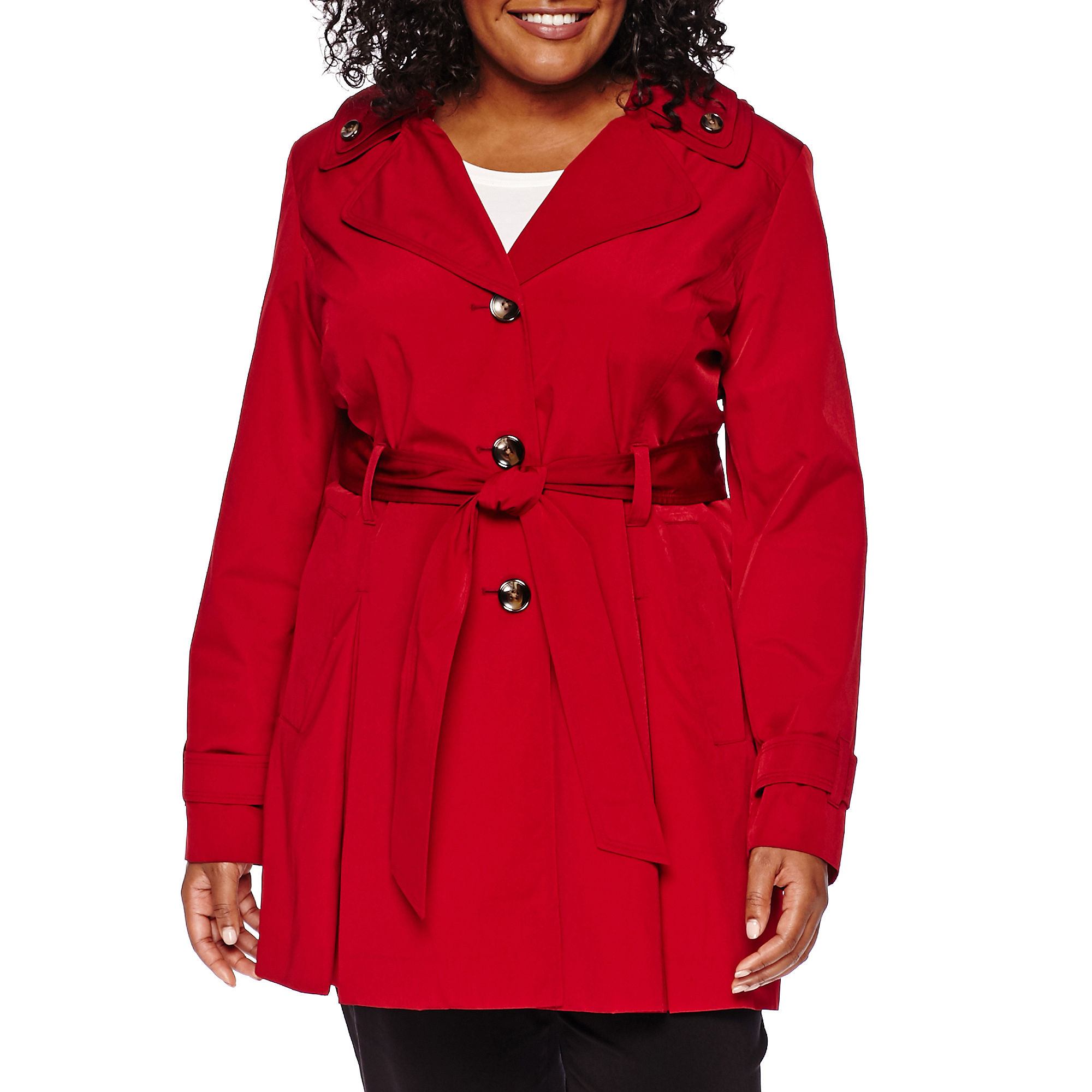 Liz Claiborne Double-Collar Belted Trench Coat - Plus plus size,  plus size fashion plus size appare
