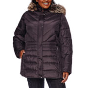 Liz Claiborne® Side-Panel Puffer Jacket with Faux-Fur Hood
