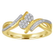 Diamond Blossom 1/10Cttw Diamond 2 Stone Ring In 14K Yellow Gold Over Silver