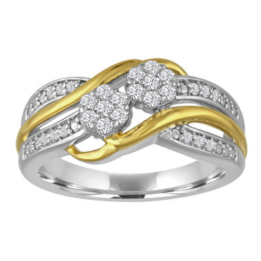 jcpenney.com | diamond blossom 1/4CT. T.W. Diamond 2-Stone Sterling Silver And 14K Gold Over Silver Ring