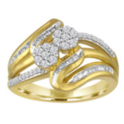 diamond blossom 3/8 CT.T.W. Diamond 2-Stone 14K Yellow Gold Over Silver Ring