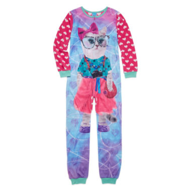 jcpenney.com | Sleep On It Long-Sleeve Photo Real Pink Cat Zip-Front Pajamas - Girls