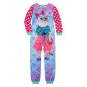 Sleep On It Long-Sleeve Photo Real Pink Cat Zip-Front Pajamas - Girls