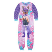 Sleep On It Long-Sleeve Photo Real Super Dog Zip-Front Pajamas - Girls